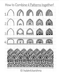 How to combine 4 different patterns together! Please note that patterns when drawn in a single row look slightly different when combined to… Mandala Doodle, Mandala Art Lesson, Mandala Artwork, Mandala Painting, Mandala Drawing, Zen Doodle Patterns, Doodle Art Designs, Zentangle Patterns, Mandala Pattern