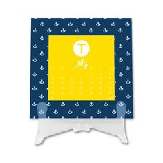 Stylish Initial Desk Top Calendar