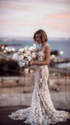 Cute Wedding Dress, Wedding Dress Trends, Dream Wedding Dresses, Wedding Attire, Perfect Wedding, Bridal Dresses, Wedding Day, Wedding Dress Colors, Sheath Lace Wedding Dress