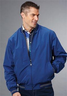 Men's Cotton Microfiber Reversible Jacket blue tan