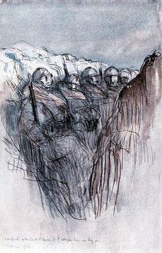 Georges Victor Hugo - Renforts attendant l'heure de l'attaque dans un boyau…