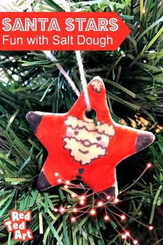 Cute and easy Salt Dough Santa Star Ornaments. We love this easy to use Salt Dough Recipe. Make these fabluous Sant Star ornaments -decorated with felt tips Christmas Activities, Christmas Projects, Christmas Ideas, Star Ornament, Ornament Crafts, Paper Crafts For Kids, Easy Crafts For Kids, Diy Christmas Ornaments, Christmas Tree Decorations