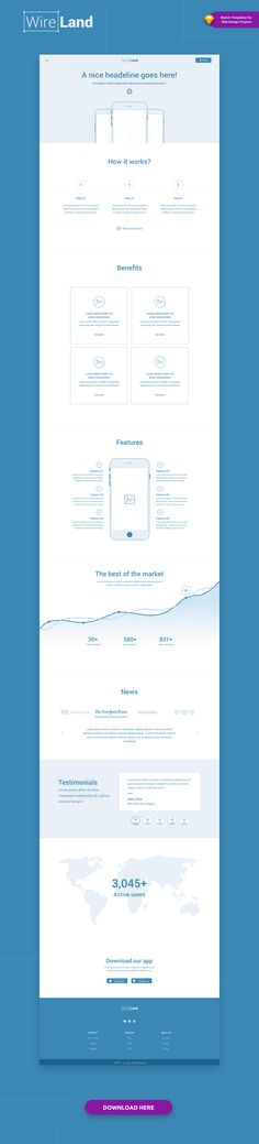 Wireland – is a Complete Wireframing Library Collection optimized to structure web design projects really fast and easy while getting great results. This library consist on 190+ ready-to-use layout sections divided into 15 popular content categories.  Excellent for Landing Pages, and any kind of Web design Projects.