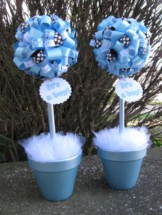 It's a Boy! Decorative Ribbon Topiaries in Light Blues and Brown for a baby shower. Created by Banana Lala Party Designs & More