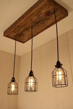 Kitchen Lighting Remodel Cage Light Chandelier with 3 Lights, Cage Lighting - Edison Bulb - Upcycled Wood Edison Lighting, Rustic Lighting, Home Lighting, Chandelier Lighting, Edison Bulbs, Lighting Ideas, Edison Bulb Chandelier, Ceiling Lighting, Table Lighting
