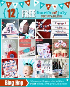 Fourth of July milk carton treat boxes + 11 more free perfectly patriotic printables! 4th Of July Celebration, 4th Of July Party, Fourth Of July, Usa Party, Memorial Day, 4th Of July Games, Independance Day, Patriotic Party, Patriotic Decorations