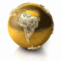 Gold globe with realistic topography and light reflections, metal earth - south america, 3d render photo