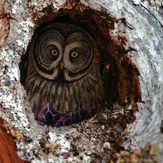 SOLD 🌿 Great Grey Owl hidden in a tree bark 🌿