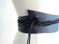 DIY Wide Leather Wrap Belt with Raw Edges x2