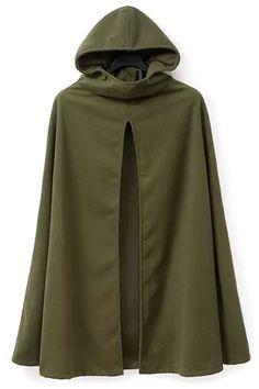Cool Olive Green Hooded Cape Coat