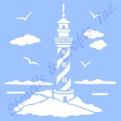 5 LIGHTHOUSE STENCIL NAUTICAL beach sea by StencilsAndCraftsInc