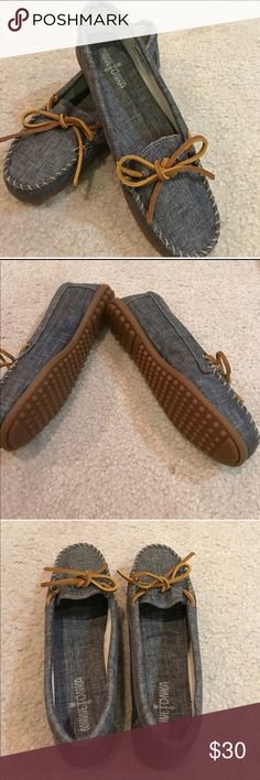 Minnetonka Denim Loafers 8.5 Brand new Minnetonka Denim loafers 8.5. Super cute & casual wear! Very trendy! No original box. Minnetonka Shoes Flats & Loafers