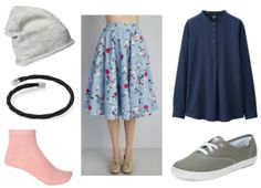 Floral skirt, navy shirt, black bracelet, grey beanie, pink socks, grey shoes