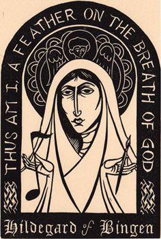 Hildegard of Bingen. Original art (linocut) from the book Light from Darkness: Portraits and Prayers.! By Working Arts