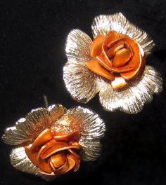 Vintage Gold Tone Orange Gold Roses Earrings by WhenRosesBloom, $11.50