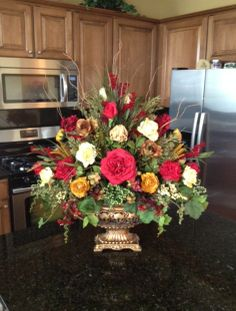 Large Colorful Floral Display In Gold Pedestal Vase - Krista's Floral Creations