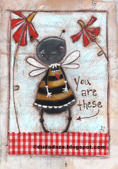 Cereal Box Art The Bees Knees  Original whimsical folk art by Diane Duda ©dianeduda/dudadaze2015