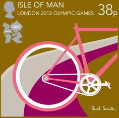 Royal Mail postage stamp celebrating the London 2012 Olympic Games - this stamp promotes The Isle of Man for the cycling events and was designed by British fashion designer Sir Paul Smith Paul Smith, Cycling In London, Royal Mail Stamps, Sir Paul, Bicycle Art, How To Make Paper, Stamp Collecting, Graphic Design Illustration, Graphic Art