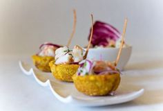 Ceviche in green plantain cups! Need to try this for next gathering.