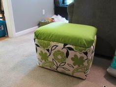 DIY Styrofoam Cooler Ottoman - I am so making this to store stuff in my craft room