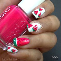 Watermelon Nails and Tutorial   preciouspearlmakeup: Watermelon Nails and Tutorial