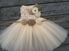 Rustic Flower Girl Dress Cream/Ivory by CountryCoutureCo on Etsy