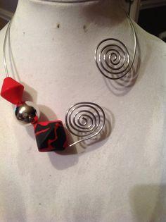 Red n Black Spiral Necklace