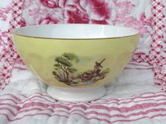 BOL ANCIEN  A FACETTES DECOR   MOULINS   /   FRENCH  OLD  BOWL