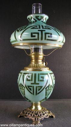 Original matching Art Deco decorated parlor oil lamp circa 1920s