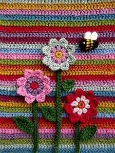 Flora's Flowers & Bumble Bee - free patterns by Lucy @ Attic24                                                                                                                                                                                 More