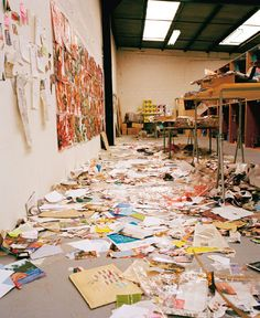 What a real artist's studio looks like... Thomas Hirschhorn's studio in Paris. {{This makes my heart smile as I think of my constant frustration with piles and piles of 'masterpieces' and ever flowing remnants of the creation process that follow my daughter around}}