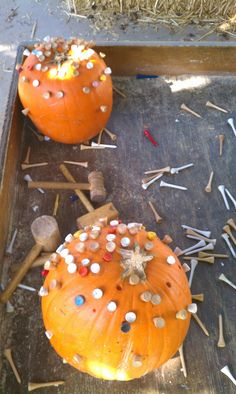 """After seeing this """"pumpkin hammering"""" activity on the 'blogosphere' several times, I decided to try it out in our yard.     We set out two p..."""