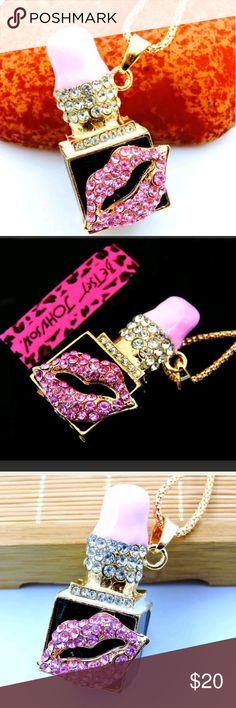 Betsey Johnson Crystal pink Lipstick lips pendant New with tags...chain length is about is 29 inches.... Betsey Johnson Jewelry Necklaces