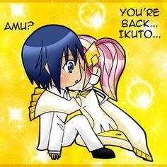 Ikuto and Amu in Bed   Amulet Dia hugging Ikuto!!