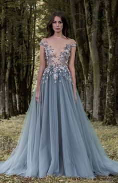 Uniquely stunning blue off-the-shoulder floral applique ballgown wedding dress with blue tulle skirt; Featured Dress: Paolo Sebastian