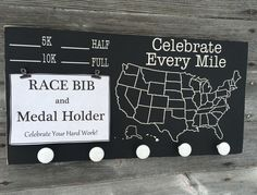 Race Bib and Medal Holder/ Chalkboard Bib and by TheBarnWoodSign