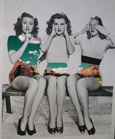 speak no evil, hear no evil, see no evil, vintage style pin up girls in shorts heels tight sweaters vintage fashion style Mode Vintage, Vintage Girls, Retro Vintage, Vintage Style, Vintage Black, Pin Up Vintage, Retro Girls, Vintage Prints, Photomontage