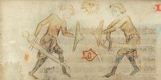 zwei Männer mit Buckler, SLUB Mscr.Dresd.M.32 Dresdner Sachsenspiegel, fol. 20r, 1350, Meissen.