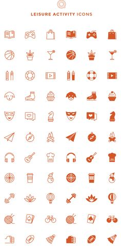 Free Line  Filled Leisure Activity Icons