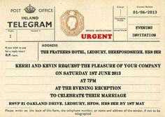 PERSONALISED VINTAGE POST OFFICE TELEGRAM EVENING WEDDING INVITATION