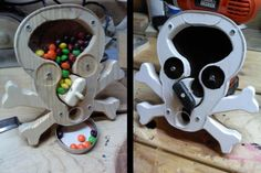 Make a Skeleton Candy Dispenser for Halloween | Woodworking for Mere Mortals | Free woodworking Videos and Plans