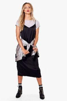 #boohoo 2 in 1 Satin Midi Slip Dress - grey DZZ63505 #Suzannah 2 in 1 Satin Midi Slip Dress - grey