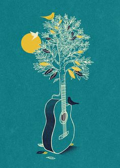 Fun illustrations by joao lauro fonte noten, art music, guitar drawing, guitar art Wal Art, Plakat Design, Guitar Art, Guitar Drawing, Guitar Room, Music Guitar, Tree Illustration, Coffee Illustration, Digital Illustration