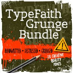 Product Description: Think your Font Library's old? Well it's time to give it a modern-day facelift, while still reaching to the past. This fantastic TypeFaith Grunge Bundle features 8 …