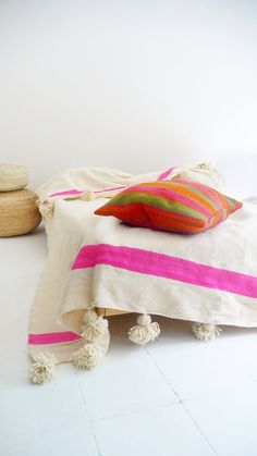 Moroccan POM POM Wool Blanket  Ecru and Pink bands by lacasadecoto