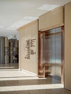 Interior Design Awards, Lobby Interior, Interior Stairs, Lobby Design, Hall Design, Signage Design, Elevator Design, Hotel Corridor, Elevator Lobby