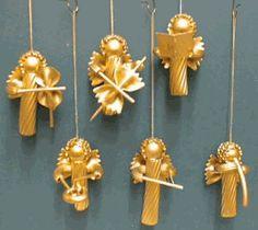 Kerst - Engelen gemaakt van pastavormen - Nudelengel - Bastelfrau