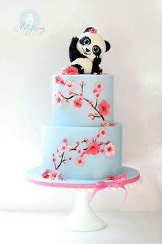 Cherry blossom and panda bear