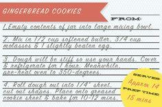 gingerbread cookies in a jar recipe card #gift