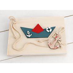 Vintage Χειροποίητο Βιβλίο Ευχών για αγόρι  με Ναυτικό θέμα στα χρώματα Navy Blue και κόκκινο. Enamel, Accessories, Vintage, Vitreous Enamel, Enamels, Vintage Comics, Tooth Enamel, Glaze, Jewelry Accessories